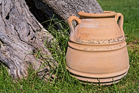 receptacle: one big ancient ceramic pot closeup against a trunk of an old tree with a hollow
