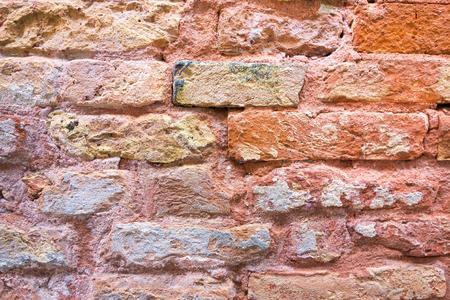 red wallpaper: the old textured surface of a red brick wall for wallpaper and for a background