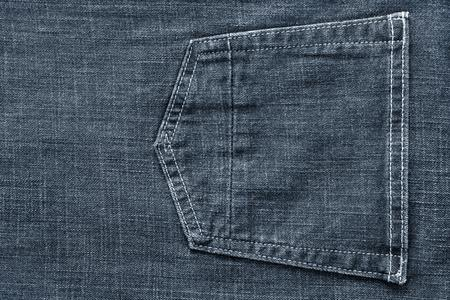 pale color: fragment of trousers from jeans material or jeans clothes with the big sewn pocket closeup for the textile textured background of pale color