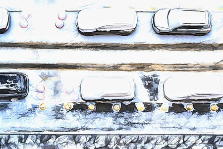 illustration of the parking of passenger automobiles and snowdrifts of snow in the yard on the winter street Imagens