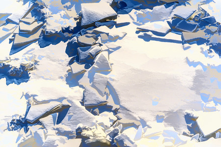 illustration of abstract texture of ice pieces of snow for a background or for a frame with a blank space Stock Photo