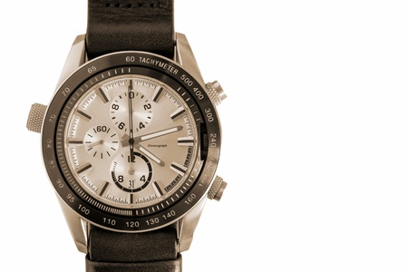 fashionable mens wrist watch chronographs of vintage tones separately on a white background and closeup