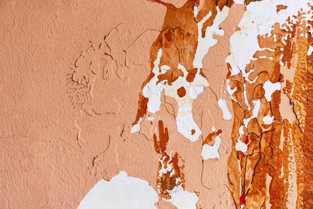 part of the old and peeled plastered wall closeup for abstract textured background