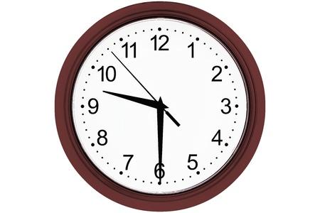 weiße Uhr mit Figuren und Schützen von schwarzer Farbe und mit einem dunklen kirschfarbenen Rand auf weißem Hintergrund, isoliert durch eine Nahaufnahme und das Datum der Uhrzeit 09-30.