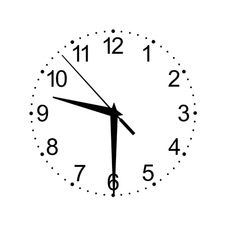 the white clock dial with figures and with shooters of black color on a white background isolated by a closeup and date time 09-30 版權商用圖片
