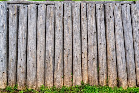 Old timbered wall for the textured background or for vintage wallpaper. 스톡 콘텐츠