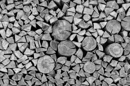 Texture of an end face of wooden firewood in a stack for a background or for wallpaper of monochrome tone.
