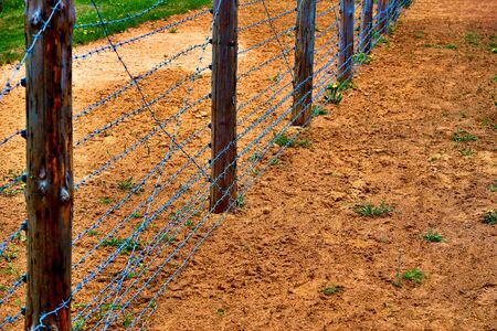 Barrier fence or control border strip with barbed wire fence