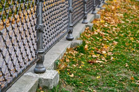 Old metal fence closeup against the background of autumn landscape in the park