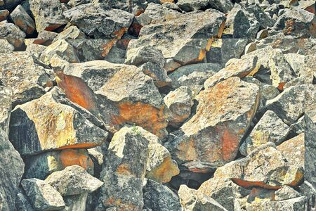 pile of large stones closeup for abstract natural textured background