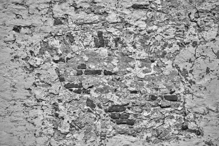 abstract monochrome texture of the surface of the old cement brick wall for the background or for wallpaper