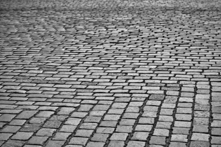 texture of the old stone pavement for the abstract urban background Banco de Imagens