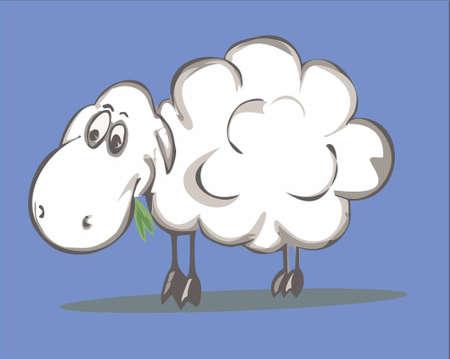 a sheep munching green grass in the background Vector