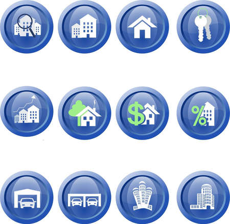 Real Estate web icon set on the white Vector