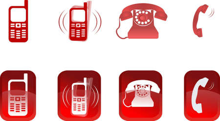Set of red bright icons of phone. a vector illustration