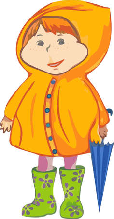 Little girl with umbrella and rain coate.  the illustration for yours design, postcard, album, cover, scrapbook, etc. Vector