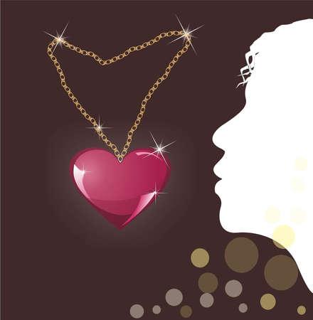 coeur médaillon sur un fond sombre et le profil d'une jeune fille