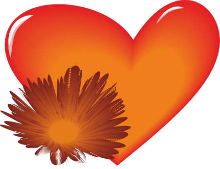 bright orange heart with a flower on a white background Illustration