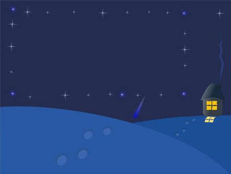 frosty winter night under the bright starry sky