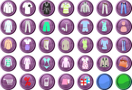 men's clothing: icons for the site for the sale of clothing Illustration