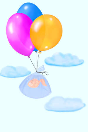 Fish flying in the clouds on the three balloons