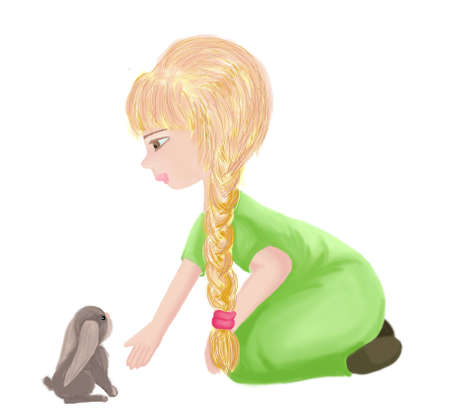 girl in green dress and a little rabbit Stock Photo