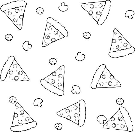 Vector fabric pizza pattern. Black and white pizza pattern.