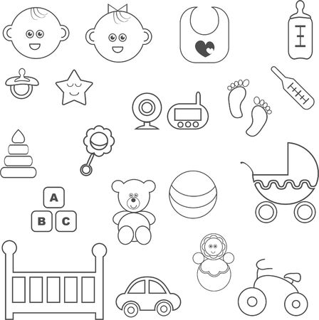 Isolated baby icons set vector Illustration