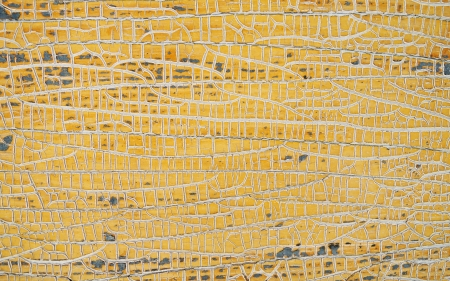 Yellow painted weathered wood texture.   photo