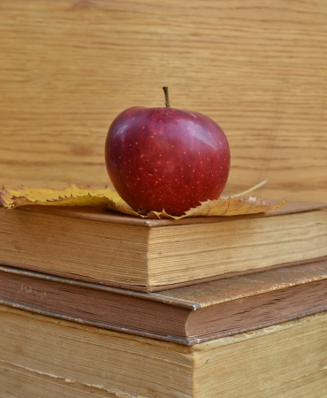 Vintage books with apple photo