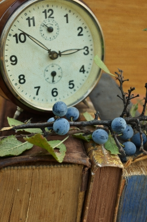 annals: Vintage books and old clock