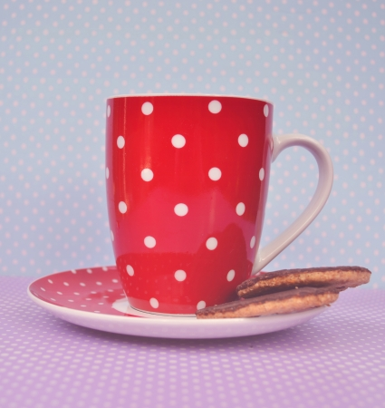 Vintage cookies and cup of coffee photo
