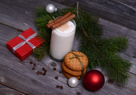 christmas morning: Christmas morning and new year on wooden  Stock Photo