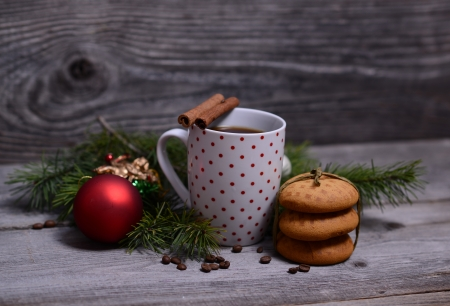 christmas morning: Cup of cooffee with cookies for Christmas morning