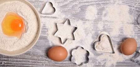 ingredients and molds for baking cookies