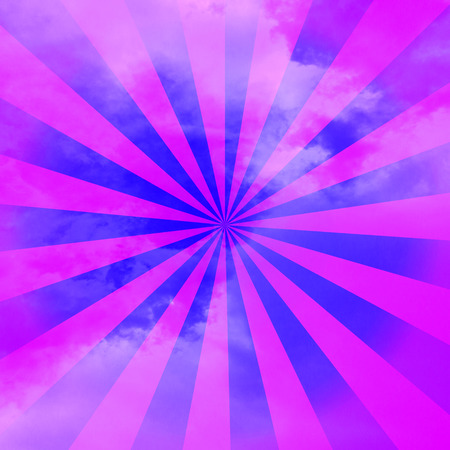 Vintage purple rays background in clouds photo