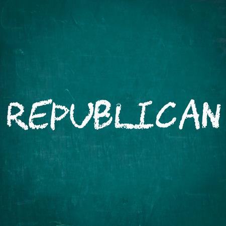 republican: REPUBLICANO escrita en la pizarra