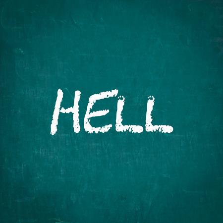 infierno: INFIERNO escrita en la pizarra Foto de archivo