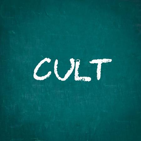 cult: CULT written on chalkboard Stock Photo