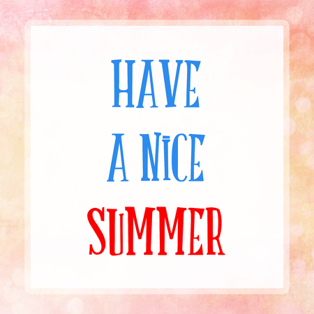 vista: HAVE A NICE SUMMER on pink pastel poster background