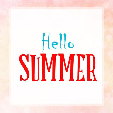 vista: HELLO SUMMER on pink pastel poster background Stock Photo