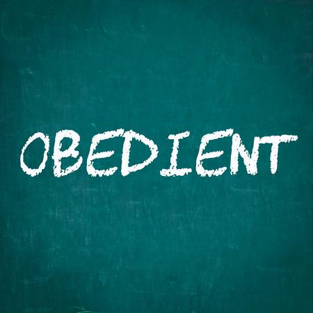 obedient: OBEDIENT written on chalkboard