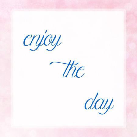 vista: ENJOY THE DAY on pink pastel poster background