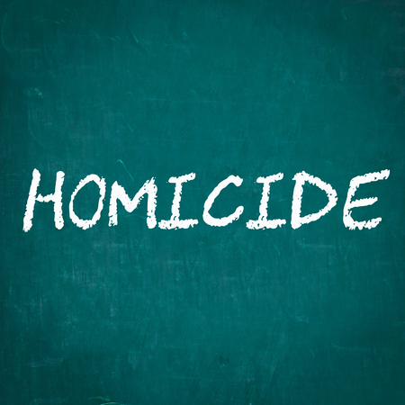 homicide: HOMICIDE written on chalkboard Stock Photo