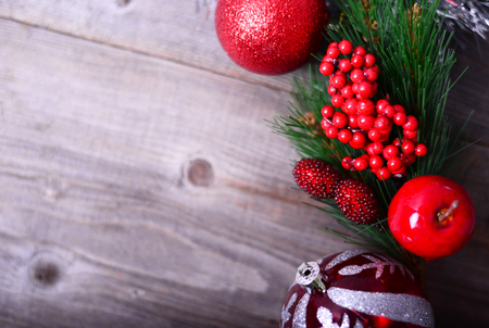 hot: Christmas ornament on wooden background Stock Photo