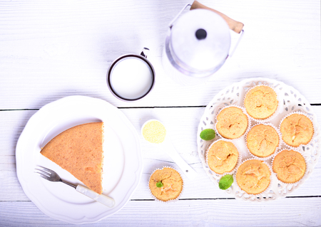 cornbread: Cornbread muffins on white wooden table