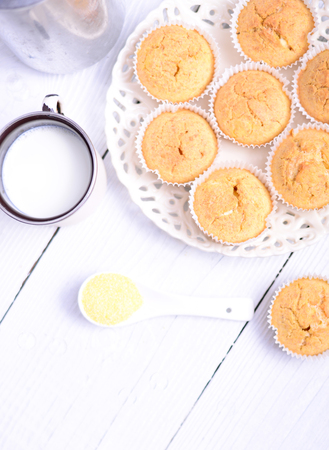 cornbread: Cornbread muffins on white table