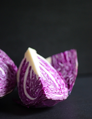 red cabbage: Red cabbage on blackboard closeup