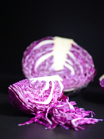 red cabbage: Red cabbage on blackboard Stock Photo