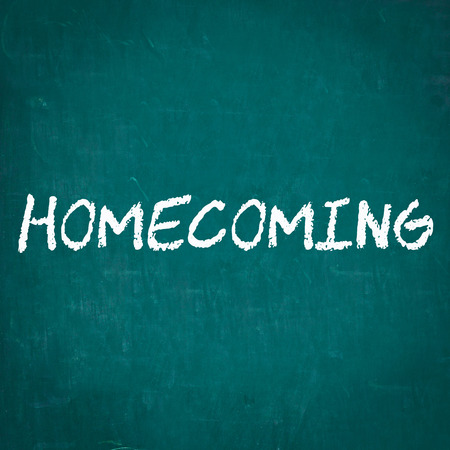 homecoming: HOMECOMING written on chalkboard
